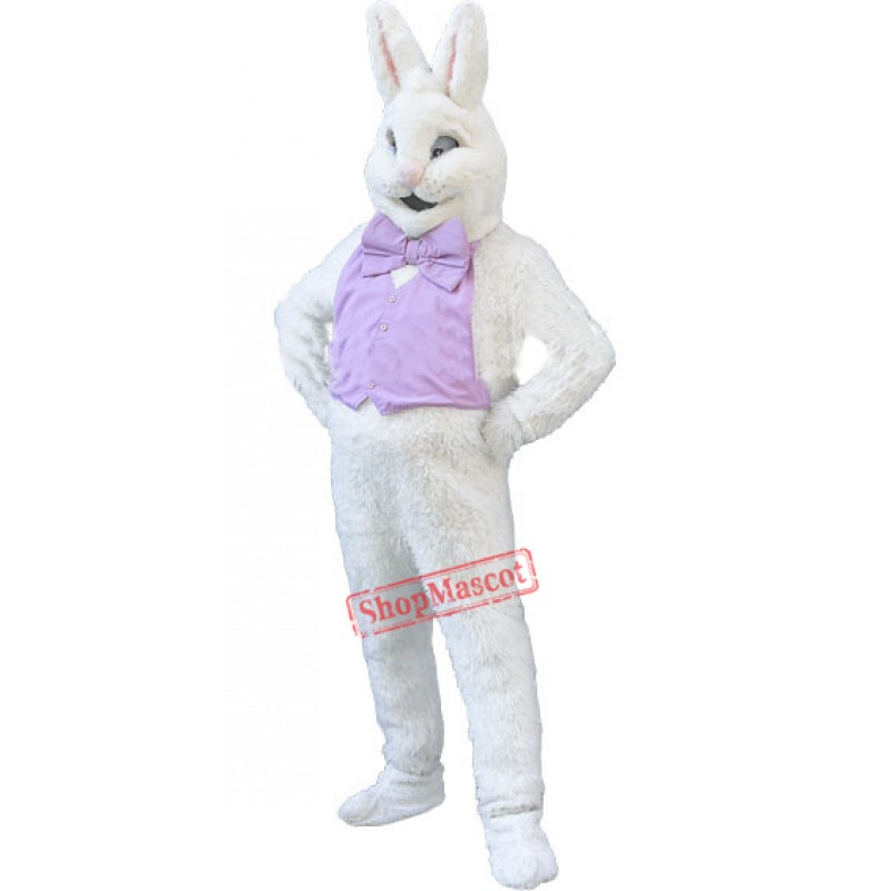 Confident White Bunny Rabbit Mascot Costume