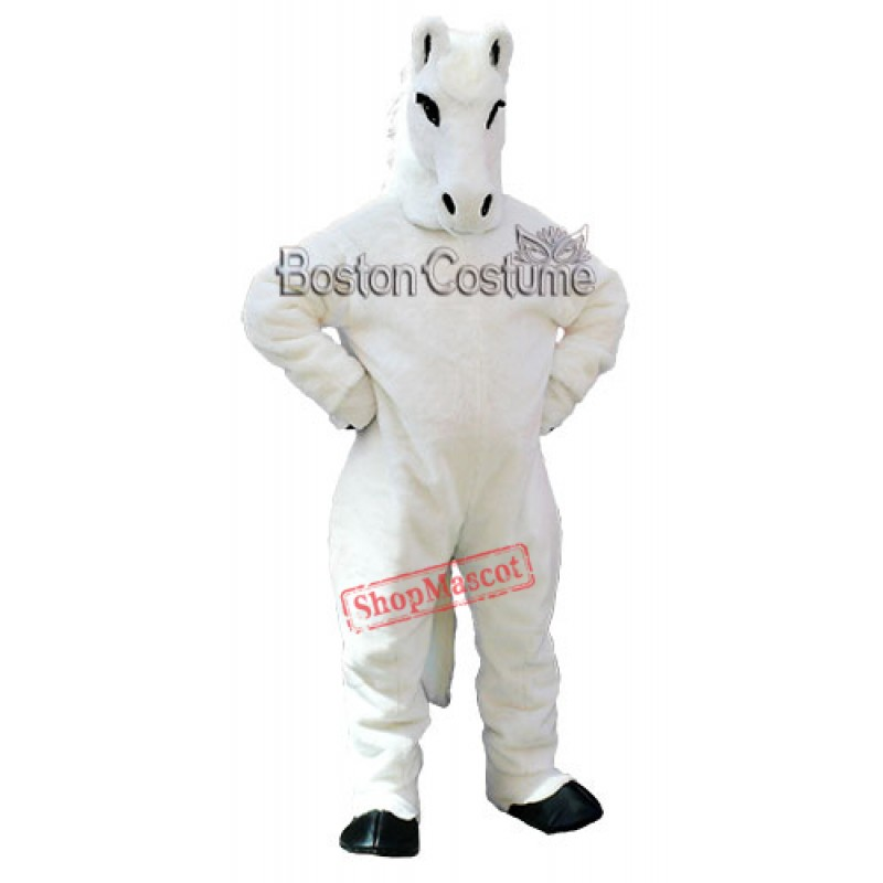 Friendly White Horse Mascot Costume