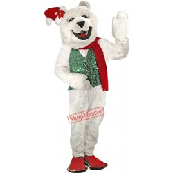Holiday Polar Bear Mascot Costume