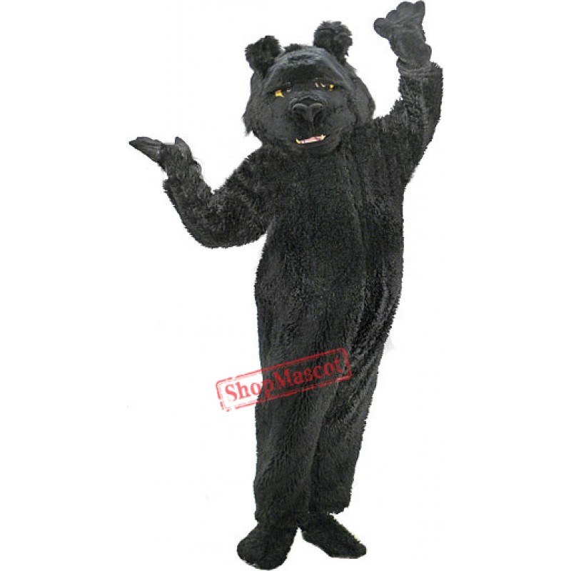 Shaggy Black Bear Mascot Costume