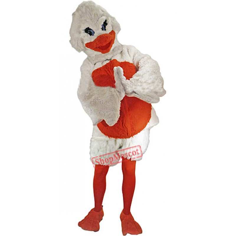 White & Red Duck Mascot Costume