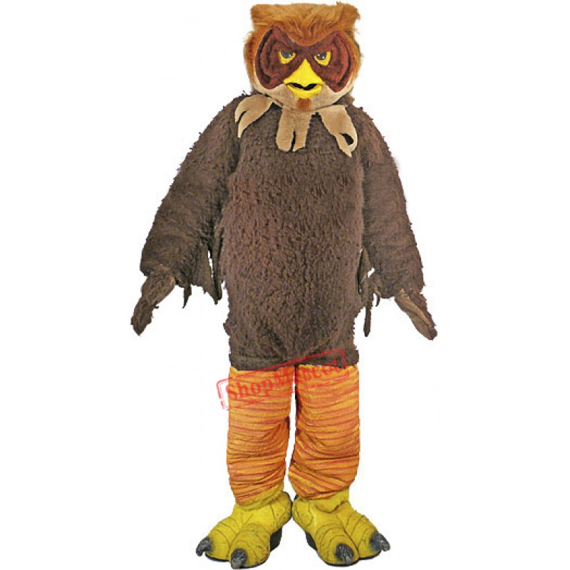 Brown Furry Owl Mascot Costume