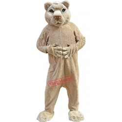 Friendly Tan-colored Lion Mascot Costume