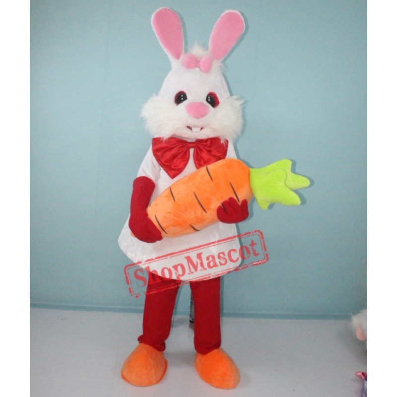 White Bunny Rabbit with Carrot Mascot Costume