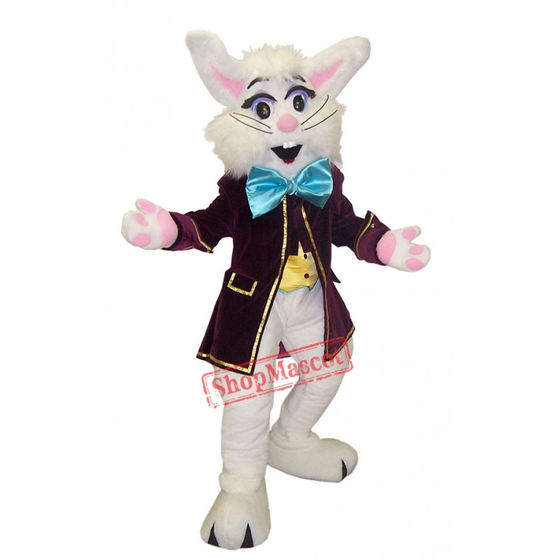 Cute White Bunny Mascot Costume