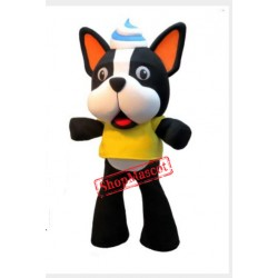 Cute White Black Dog Mascot Costume