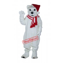 Polar Bear With Hat Mascot Costume