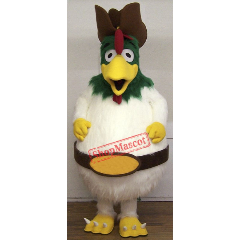 White Furry Rooster Mascot Costume
