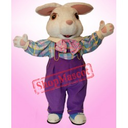 White Furry Easter Bunny Mascot Costume