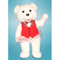High Quality White Teddy Bear Mascot Costume