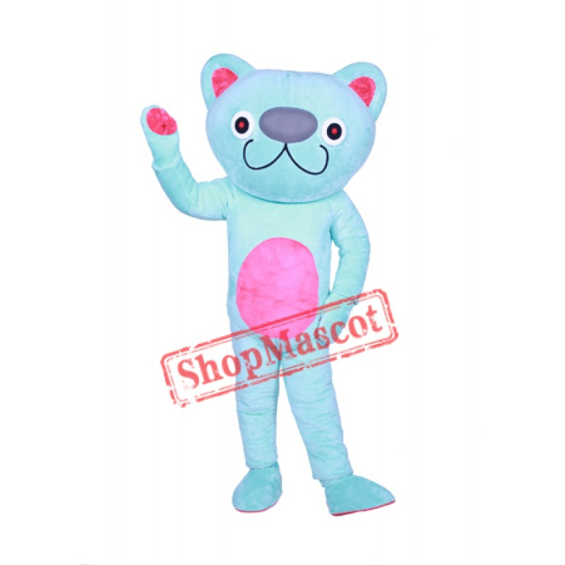 Cute Blue Cat Mascot Costume
