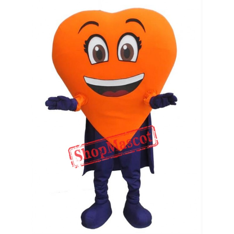 Orange Heart Mascot Costume