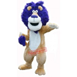 Blue Hair Lion Mascot Costume