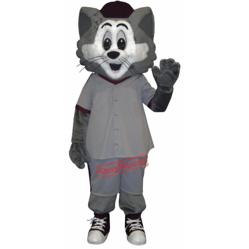 Grey and White Cat Mascot Costume