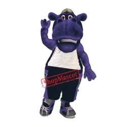 College Purple Hippo Mascot Costume