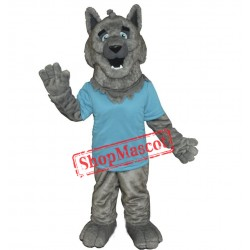 Friendly Grey Wolf Mascot Costume