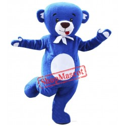 Happy Blue Bear Mascot Costume