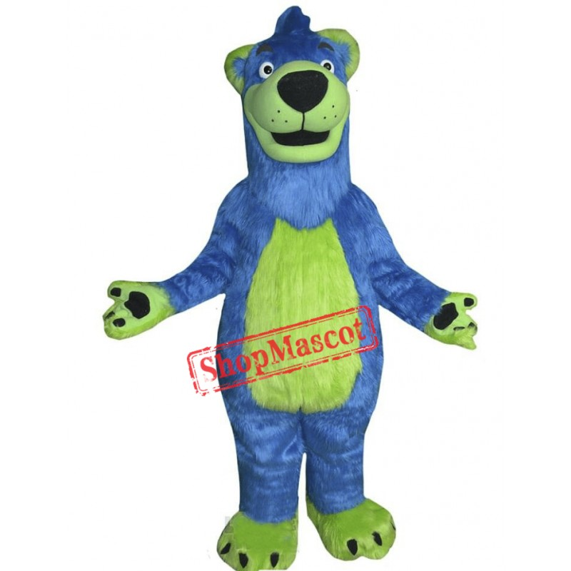 Blue & Green Bear Mascot Costume
