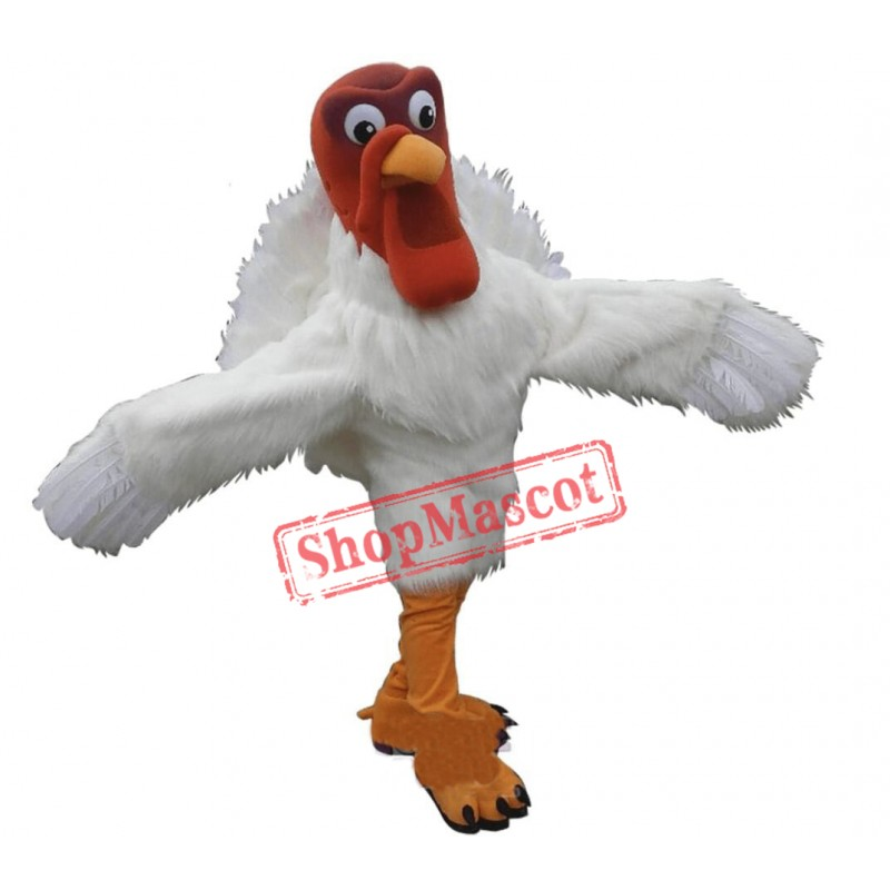 White Turkey Mascot Costume