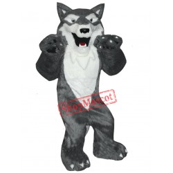 Grey & White Wolf Mascot Costume