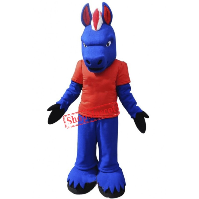 Fierce Blue Horse Mascot Costume