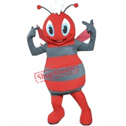 Grey & Red Bee Mascot Costume