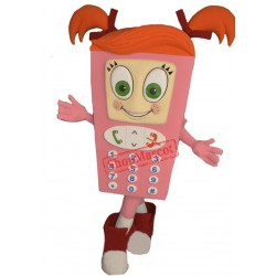 Pink Girl Cell Phone Mascot Costume