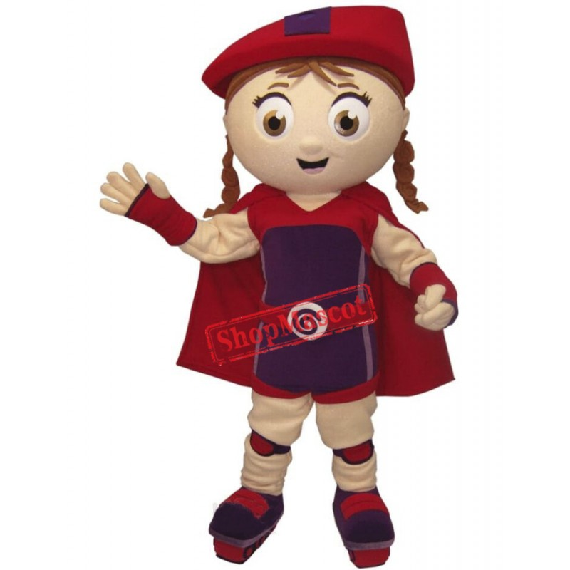 Red Super Girl Mascot Costume