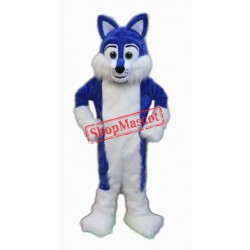 Blue Furry Husky Mascot Costume