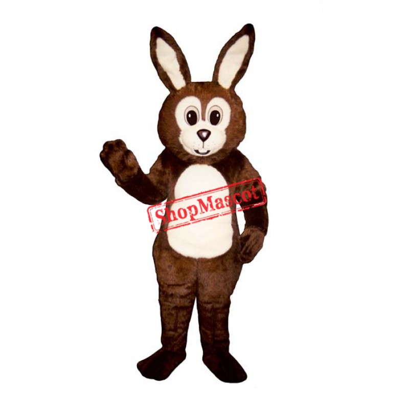 Brown Fat Bunny Mascot Costume