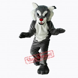 Grey Power Cat Wildcat Mascot Costume