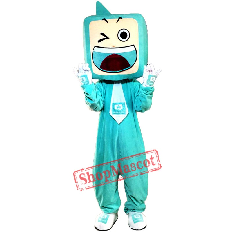 Green TV Set Mascot Costumes