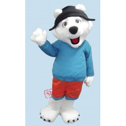 Cute Friendly Polar Bear Mascot Costume