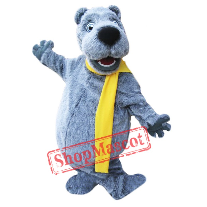 Happy Grey Bear Mascot Costume