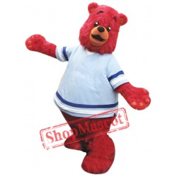 Cute Red Bear Mascot Costume