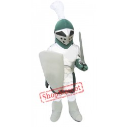 Green & Sliver Knight Mascot Costume