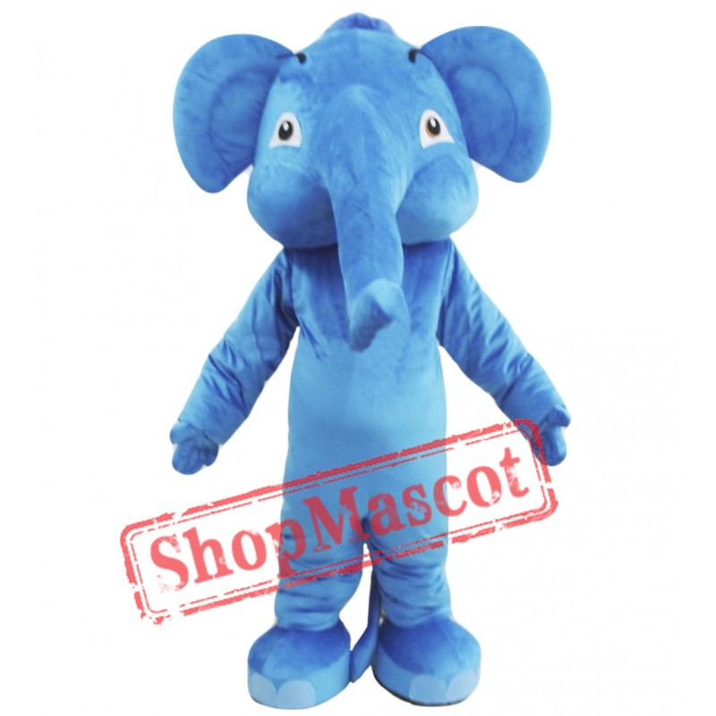 Blue Adult Elephant Mascot Costume