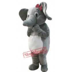 Female Grey Elephant Mascot Costume