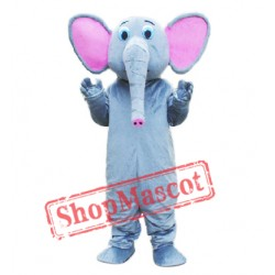 Grey Pink Elephant Mascot Costume