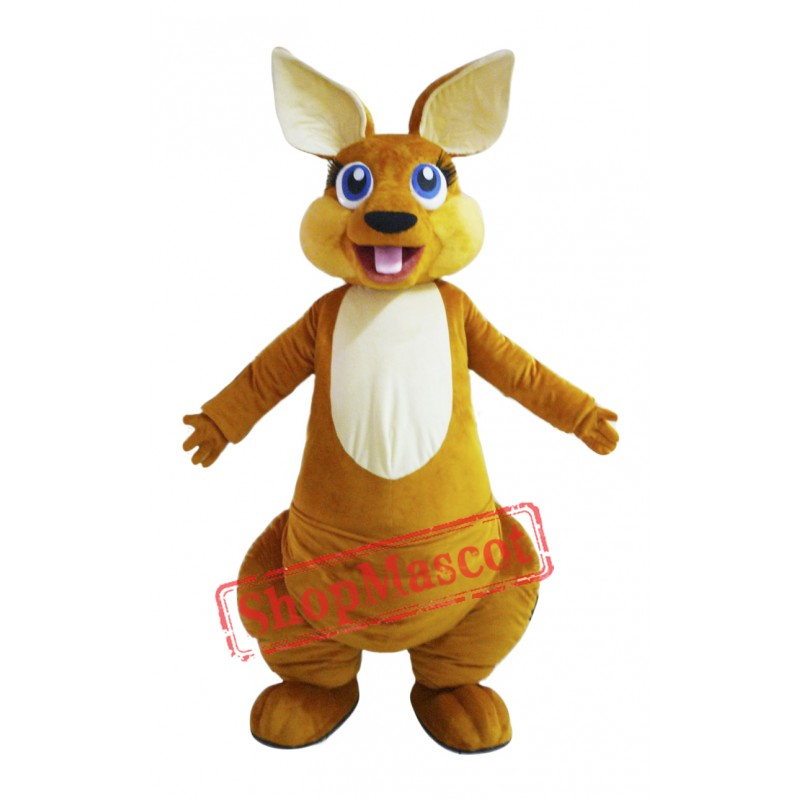 Happy Adult Kangaroo Mascot Costume