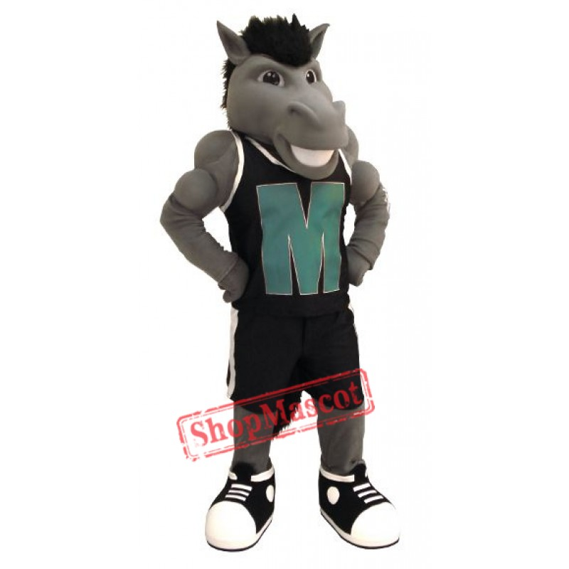 Grey Power Mustang Mascot Costume