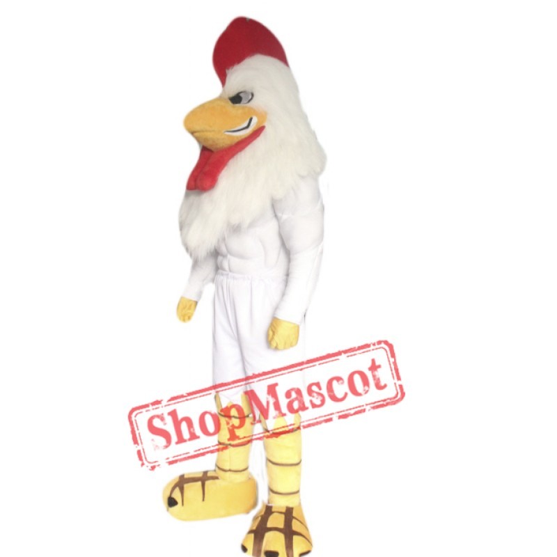 Power White Rooster Mascot Costume