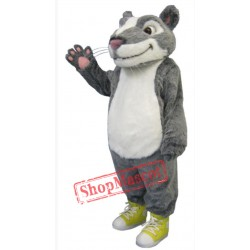 Grey White Hamster Mascot Costume