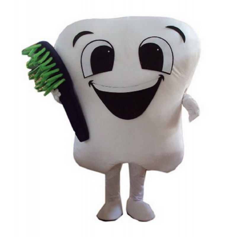 Teeth and toothbrush Mascot Costume