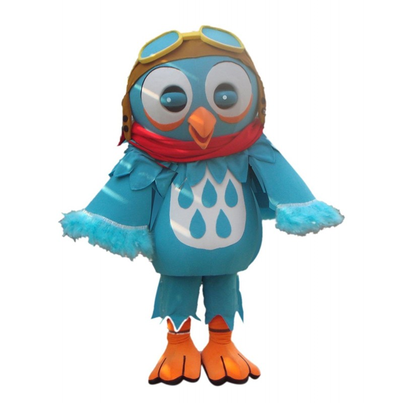 Blue Bird Mascot Costume with Glasses