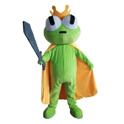 Green Frog Mascot Costume with golden Crown
