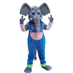 Elephant Mascot Costume with Blue Overall