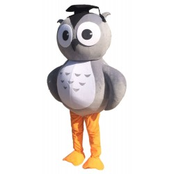Grey Owl Mascot Costume with Doctorial Hat