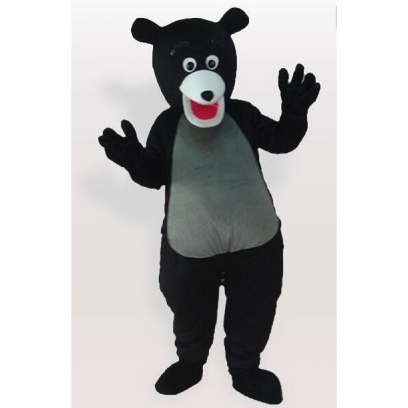 Cute Black Bear Gray Belly Mascot Adult Costume