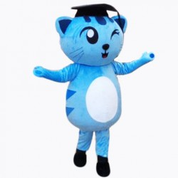 Cute Blue Docter Cat Mascot Costume
